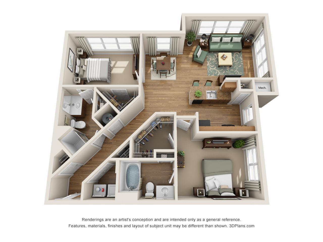 Landover md apartments century summerfield morgan metro for Japanese apartment floor plan